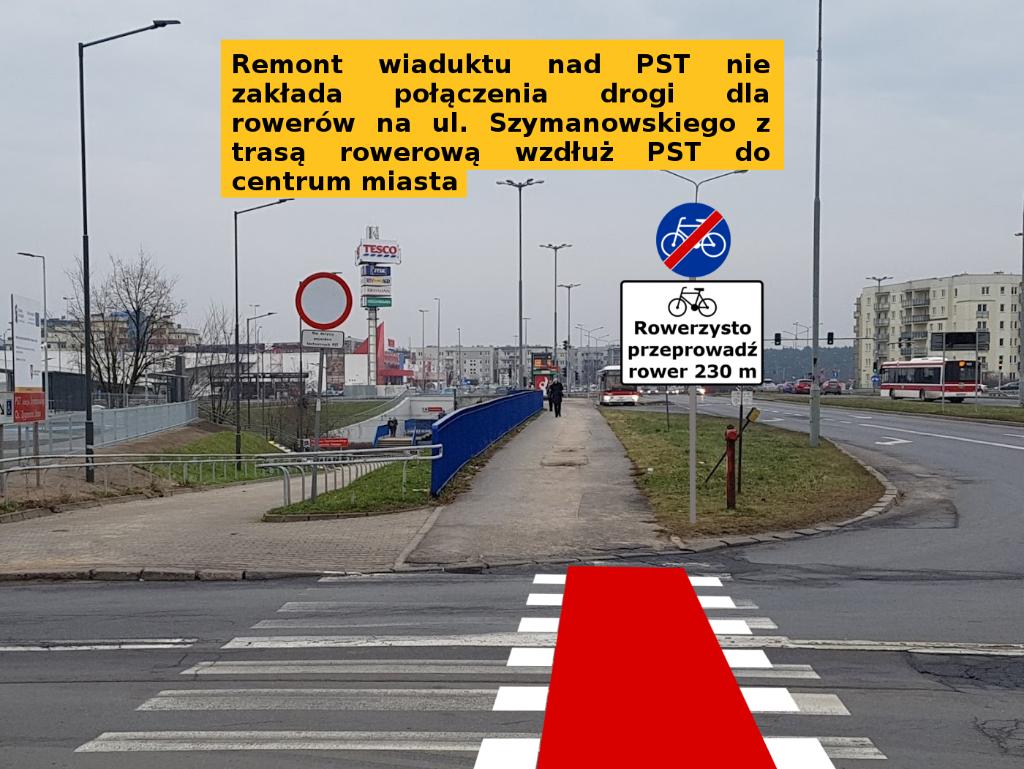 rowerzysto przeprowadź rower 230 metrów - wiadukt PST Szymanowskiego