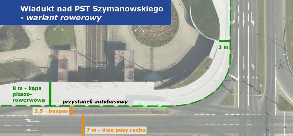 założenia projektu przebudowy wiaduktu PST Szymanowskiego - propozycja uwzględniająca możliwość wytyczenia drogi dla rowerów