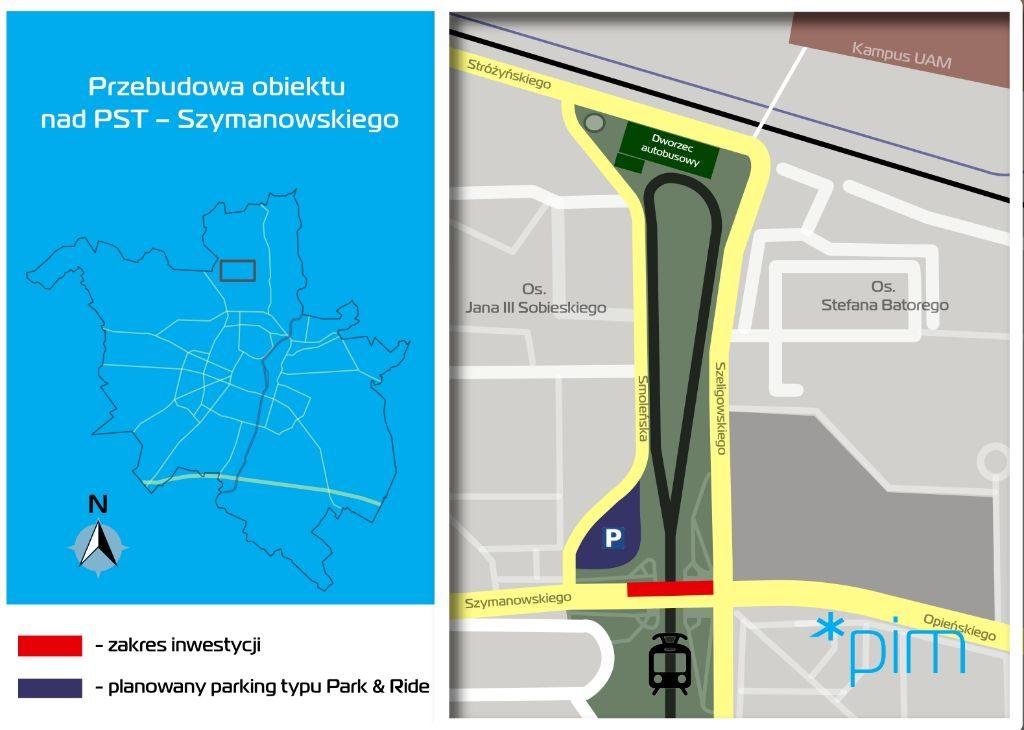 zakres inwestycji - wiadukt PST Szymanowskiego pn