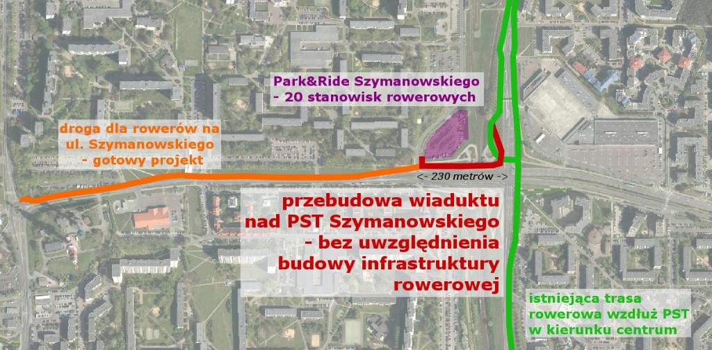 plan sytuacyjny ul. Szymanowskiego i okolic wiaduktu nad PST
